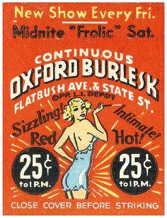 vintage burlesk matchbook