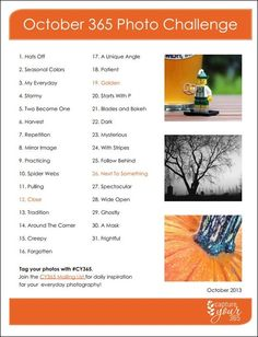 Heres an October 365 Photo Challenge List that will get you and your family photo-ready for Halloween! Photography Challenge, Photography Lessons, Photography Projects, Photography Business, Iphone Photography, Urban Photography, Creative Photography, White Photography, Portrait Photography