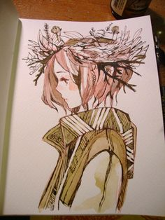 maruti-bitamin: A crown. Trying out a softer inking style with sepia ink.