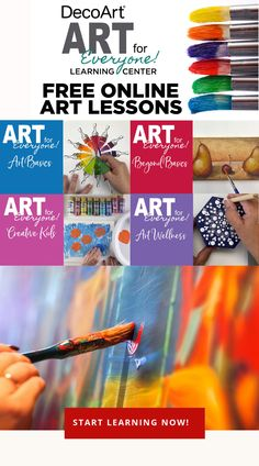 Start your journey learning today. From basics of brush anatomy to advanced techniques, DecoArt® Art for Everyone is a free resource for you to learn! Arts And Crafts Projects, Fun Crafts, Tertiary Color, Art Basics, Impressionist Artists, Principles Of Art, Glitter Paint, Learning Centers, Art Journal Pages