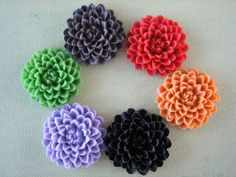 6PCS  Mixed Colors  Chrysanthemum Cabochons  32mm by ZARDENIA, $7.45