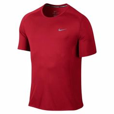Nike Mens UV Dry Miler Red Lt Wght Short Sleeve Running Shirt XL 2XL 683527-657 #Nike #ShirtsTops