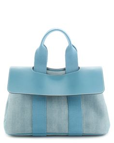 Hermes Blue Herringbone Cotton & Leather Valparaiso PM is on Rue. Shop it now.