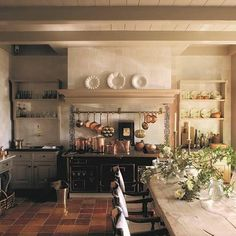 Belgian kitchen with pottery & copper collections - home of Walda Pairon