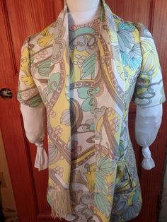 Vintage Mod Tunic Shirt Pastel Funky Small to Med w/scarf KAY WINDSOR #KayWindsor #Casual