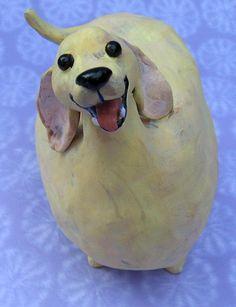 Fat Yellow Lab ceramic dog sculpture by KarenFincannon,
