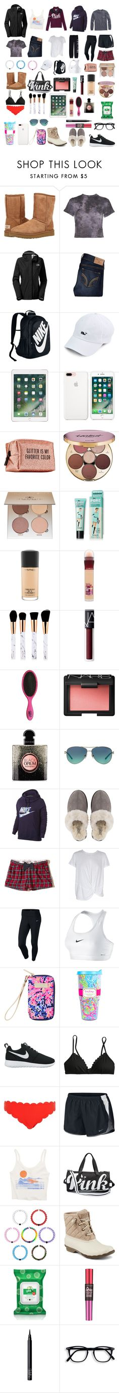 """""""Travel"""" by ale-needam on Polyvore featuring UGG Australia, The North Face, Hollister Co., NIKE, Pinch Provisions, tarte, Anastasia Beverly Hills, MAC Cosmetics, Maybelline and NARS Cosmetics"""