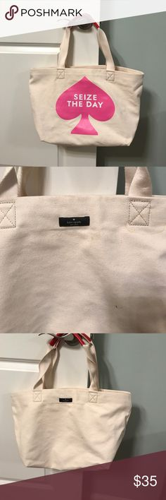 """Kate Spade tote Cream canvas tote. """"Seize The Day"""".  Red leather handle. kate spade Bags Totes"""