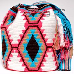 20% OFF Cabo Wayuu Bag - MOCHILAS WAYUU BAGS Leather Bags Handmade, Handmade Bags, Mochila Crochet, Tapestry Crochet Patterns, Tapestry Bag, Boho Bags, Lion Brand Yarn, Knitted Bags, Crochet Accessories