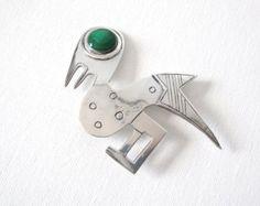 Graziella Laffi Peruvian Sterling Silver Bird Brooch Pin With Green Enamel