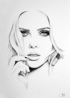 Scarlett Johansson fino arte lápiz dibujo retrato mano grabado firmado