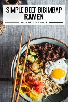 Sautéed zucchini, shiitake mushrooms, shallots, & savory ground beef served with rice ramen for tasty and simple gluten free meal in less than 30 minutes! Gluten Free Ramen, Healthy Gluten Free Recipes, Easy Dinner Recipes, Pasta Recipes, Sweets Recipes, Lunch Recipes, Dinner Ideas, Slow Cooker Beef Tenderloin, Ramen Bowl