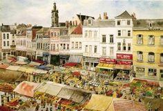 Place du Marché-aux-Herbes, aquarelle datant des années 60, reproduite sur cette carte postale distribuée dans les années 90