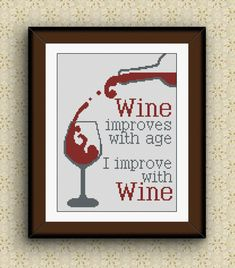 BoGo Pattern cross stitch WINE GLASS Instant Download, Cross-Stitch PDF, Needlework, Needlecraft, Embroidery, Digital #037