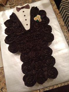 Groom cupcake cake