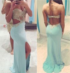 The Charming Light Sky Blue Long Prom Dresses,Open Back Prom Dresses,Front Split Evening Dresses For Teens, Cheap Prom Gowns by DRESS, $158.00 USD