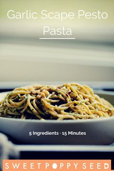 A delicious pesto and pasta meal made with 5 ingredients that only takes 15 minutes! Pasta Recipes, Real Food Recipes, Vegan Recipes, Fall Recipes, Delicious Recipes, Easy Family Meals, One Pot Meals, Easy Meals, Garlic Scape Pesto