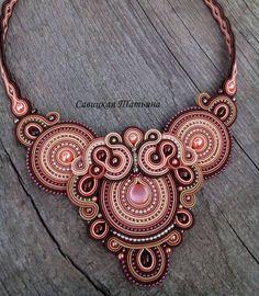 Elegant Terracotta Soutache Necklace Hand by MagicalSoutache Purple Necklace, Blue Earrings, Tassel Earrings, Indian Jewelry, Boho Jewelry, Jewelery, Unique Jewelry, Hand Jewelry, Earrings Handmade