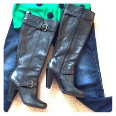 Black leather boots - size 7 Gently worn boots with inner lining, zipper and decorative buckle. Arturo Chiang Shoes Heeled Boots