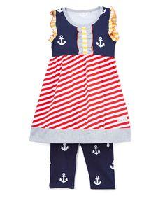 Red & Navy Sweet Sailing Top & Capri Pants -Infant Toddler & Girls - Infant Toddler & Girls