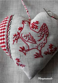 Embroidered heart.