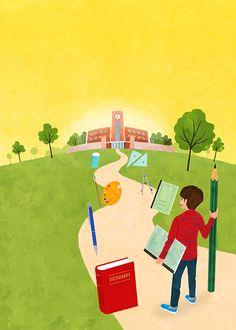 冊子表紙『まなびガイド』(ベネッセコーポレーション) Cover illustration for Manabi guide by Benesse Corporation.  #illustration #illustrator #イラスト #イラストレーション #イラストレーター