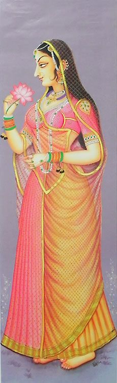 Rajput Princess Holding Lotus (Reprint on Paper - Unframed))