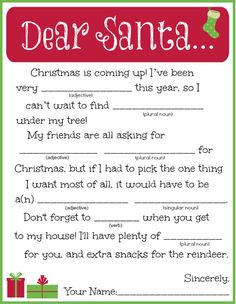 FREE Printable Letter to Santa Madlib! Turn writing a letter to Santa into a hilarious Christmas activity the whole family will love.