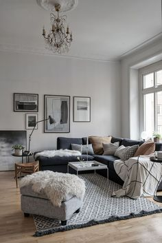A side with and about interior design, interior design, interior decoration - Wohnzimmer styles - Apartment Decor Living Room Grey, Living Room Interior, Home Living Room, Apartment Living, Living Room Designs, Living Room Decor, Apartment Couch, White Apartment, Living Room And Bedroom In One