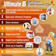 The Trusted Choice Ultimate 8 Fall Home Maintenance Tips:  With spring cleaning far behind, and summer fun all but over, it's time to start fall home maintenance. We have compiled the top eight fall home maintenance tips, along with what you can do to ensure your home stays warm and comfortable this winter.  https://www.trustedchoice.com/content/2013/11/8-fall-home-maintenance-tips/