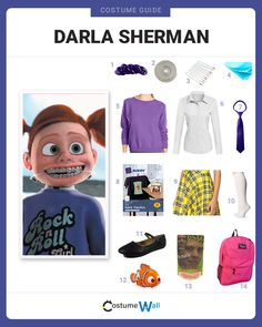 The best costume guide for dressing up like Darla Sherman, the bratty niece of the dentist, Philip Sherman in Disney Pixar's Finding Nemo. Meme Day Costumes, Cartoon Halloween Costumes, Halloween Costumes For Teens Girls, Villain Costumes, Disney Costumes, Halloween Kostüm, Cool Costumes, Costume Ideas, Disney Outfits
