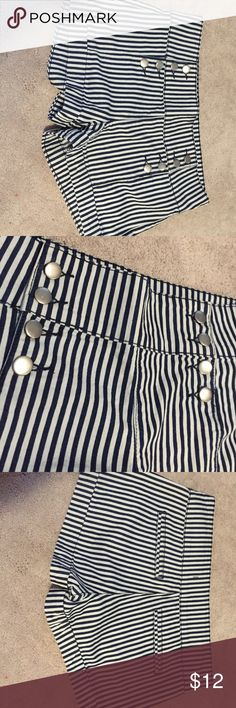 FINAL SALE! Forever 21 Sailor High-Rise Shorts Only worn once! These nautical inspired high rise with button front shorts are perfect for summer. Size 29. Great condition. Forever 21 Shorts