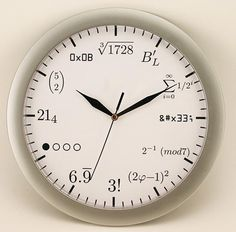 a math geek clock! beats the square root clock! would love to give this to miller and ate ella Gadgets And Gizmos, Cool Gadgets, Geek Gadgets, Math Clock, Math Memes, Math Humor, Physics Humor, Cool Clocks, Telling Time