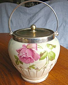 Antique pink rose biscuit jar! Perfect for your favorite lady on her birthday, anniversary, x-mas! For sale at More Than McCoy on TIAS!