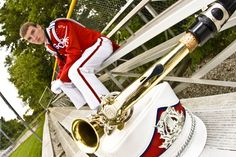 The Best Senior Picture Ideas! Popular and trendy Band player with instrument outside.