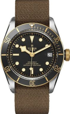 Tudor Heritage Black Bay Automatic Men's Watch with Brown Fabric Strap Tudor Heritage Black Bay, Tudor Black Bay, Tudor Bronze, Tudor Submariner, Authentic Watches, Mens Gear, Watch Companies, Cool Watches, Men's Watches