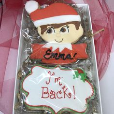 Elf on the shelf cookies to surprise anyone with his return from the North Pole. You can also use as a gift from the Elf after his departure until next year. Orders placed by Nov 11 will ship on Nov 17. If you need a different ship date please contact me before placing the order to