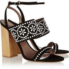 Tabitha Simmons Blaze embellished suede sandals (5.935 HRK) via Polyvore featuring shoes, sandals, strap high heel sandals, tabitha simmons, suede leather shoes, strappy sandals and suede shoes