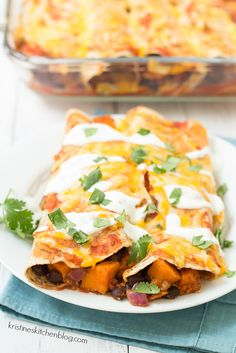 Sweet Potato and Black Bean Enchiladas - a healthy vegetarian take on your favorite enchiladas! | Kristine's Kitchen
