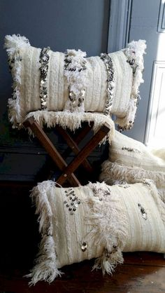 Moroccan Wedding Blanket Pillow // handmade from vintage handira Moroccan Design, Moroccan Decor, Designer Pillow, Pillow Design, Decorative Items, Decorative Pillows, Large Pillows, Moroccan Wedding Blanket, Deco Boheme