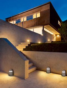 LED Wall Packs With Photocell - Outdoor Security Lights Exterior Lighting, Outdoor Lighting, Modern Residential Architecture, Brick Architecture, Brick Steps, Exterior Stairs, Outdoor Stairs, Modern Mansion, Modern Houses