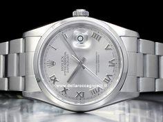 Rolex Datejust - Ref. 16200 Cassa in acciaio 36mm con vetro zaffiro Quadrante rodio con numeri romani Bracciale Oyster in acciaio Movimento automatico Rolex Datejust, Omega Watch, Rolex Watches, Accessories, Jewelry Accessories