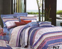 Lenjerie de pat 100% bambus Pucioasa cu model floral si dungi Comforters, Blanket, Bed, Floral, Model, Furniture, Home Decor, Homemade Home Decor, Stream Bed