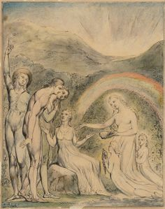 """William Blake. Illustration for Milton's Comus, 1815. """"Sabrina Disenchanting the Lady."""" Pen and water color on paper. Museum of Fine Arts, Boston."""