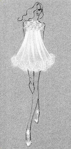 WHITE PASTEL PENCIL on colored paper  Sketch - Marchesa