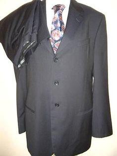 Stunning Giorgio Armani Men's Suit - Blue w/ Thin Pinstripes - 38L $1695 MSRP on ebay. Ebay deals ebay fashion high end fashion
