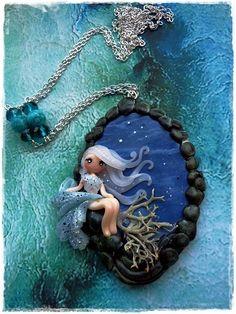 Fimo -sweet Dolly-Kette - in liebe Handgearbeitet-blau