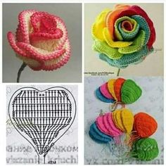 Crochet And Knitting Patterns - Latest ideas information Roses Au Crochet, Marque-pages Au Crochet, Crochet Amigurumi, Crochet World, Crochet Diagram, Crochet Chart, Crochet Flowers, Crochet Flower Tutorial, Crochet Flower Patterns