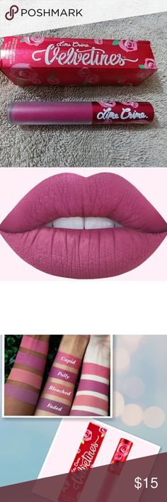 MATTE VELVETINES  polly  (pink mauve) VELVETINES  The original liquid matte lipstick inspired by rose petals  The liquid matte that started it all. Conceptualized and developed by Lime Crime CEO Doe Deere, Velvetines draw inspiration from her favorite flower - a red, red rose. Doe used to cut out rose petals and paste them onto her lips as a child. Richly pigmented, French vanilla-infused formula glides on as a liquid and dries down to a luxurious, velvety matte finish that lasts for hours…