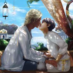 【テラスでkiss】人物にフォーカスしたロマンチックな絵を描きたくて、モデルを光希とジュリにしました。 ちなみに、二人が着ているのはパジャマです。日常の朝の一コマを描きました。